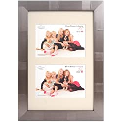 Inov8 - Marco de fotos (20 x 30 cm, con doble apertura para 2 fotos de 10 x 15 cm), diseño a rayas, color plateado