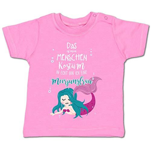 (Karneval und Fasching Baby - Das ist Mein Menschen Kostüm in echt Bin ich eine Meerjungfrau - 12-18 Monate - Pink - BZ02 - Baby T-Shirt Kurzarm)