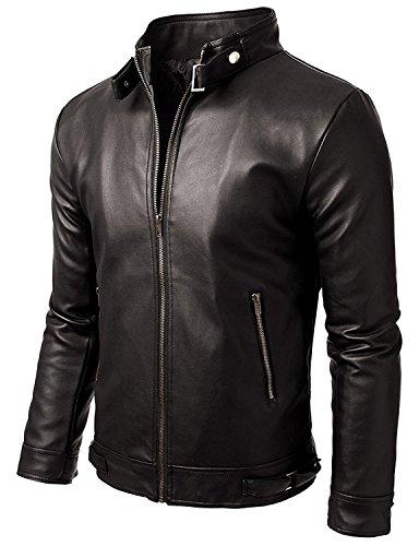 SKY LINE OCEAN Men's Leather Jacket (123456_Black_Large)