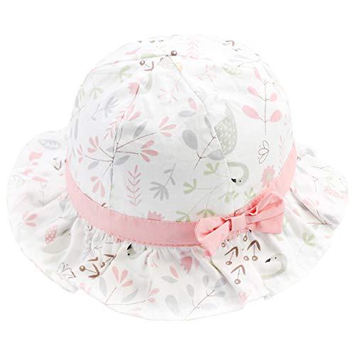 ANIMQUE Baby Mädchen Sonnenhut UV Schutz Blumenmotiv Frühling Sommer Fischerhut Süß und Lieblich Baumwolle Hut Rosa, Kopfumfang 46cm S