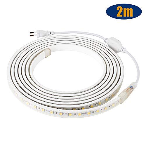 LED Streifen IP65 5050 LED Band 230V 60 LEDs/M 2M Warmweiß für von Haus, Küche, Garten