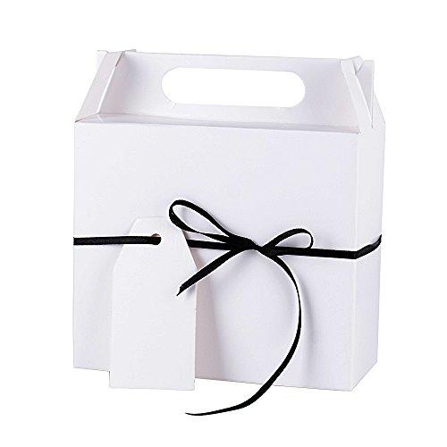 14.5*6.5*16cm 25pz scatole carta scatoline per regalo bomboniere portaconfetti fai da te festa compleanno matrimonio battesimo laurea (bianco)