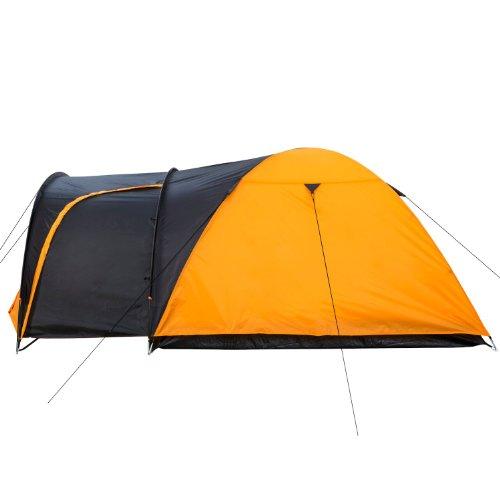 CampFeuer - Kuppelzelt Iglu-Zelt mit Vorbau für 3-4 Personen, schwarz - orange -