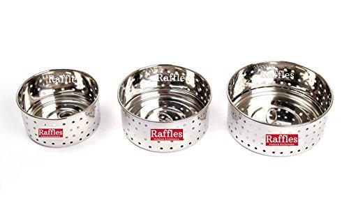 Raffles Premium Stainless Steel Paneer Maker/Mould, Set of 3, Sizes 1-3 (~300/400/500 ml)