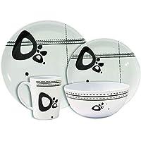 Leisurewize, vajilla de melamina de 16 piezas, diseño abstracto