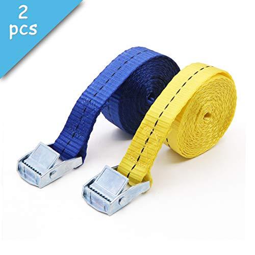 Paquete de 2 correas de cierre de hebilla para equipaje o carga, color azul y amarillo