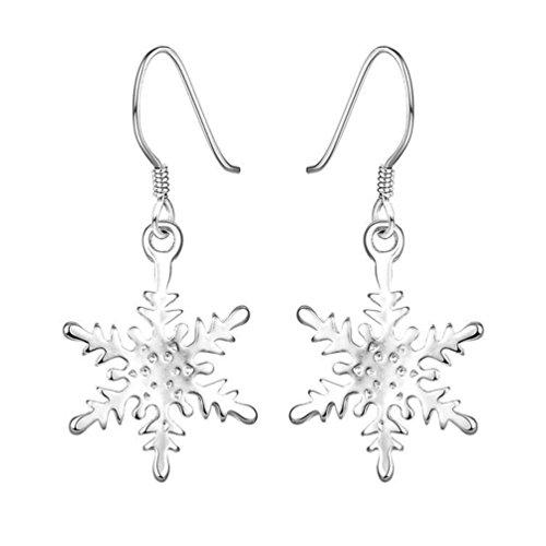 Amesii - Orecchini pendenti da donna, in argento Sterling 925, a forma di fiocco di neve
