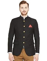 Shaftesbury London Mens Slim Fit Cotton Formal Blazer Bandhgala Jacket(Black,Parent)