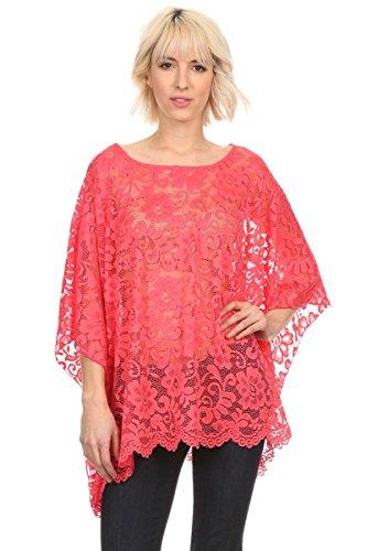 Kimono Bluse Abend-Bluse Tunika Shirt Sommerbluse Überwurf Stola Spitze in vielen bunten Farben - Einheitsgröße One Size, auch für große Größen (Koralle)