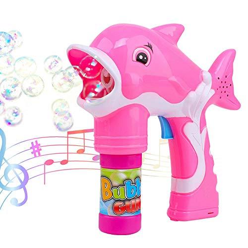 , Womdee Automatische Bubble Machine Mit LED Leuchten Und Sound Langlebiges Bubble Gun Gebläse Für Kinder Jungen Mädchen Kleinkinder Geburtstagsfeiern Rosa ()