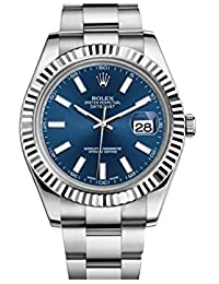 Rolex 116334 BLIO Datejust II Montre pour homme en acier inoxydable et or blanc 18 carats avec cadran bleu