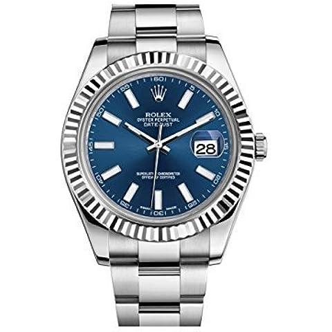 Nuovo Rolex Datejust II in acciaio inox e 18K oro bianco blu quadrante mens orologio 116334Blio by Rolex - 18k Quadrante Blu
