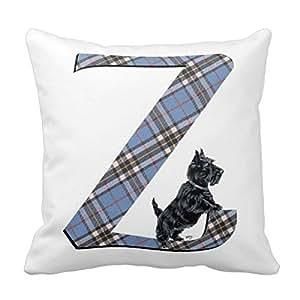 Décors Housse de coussin carrée décorative avec monogramme Z Scottish Terrier-Coussin Barbamama - 16 X 16 Imprimé deux côtés