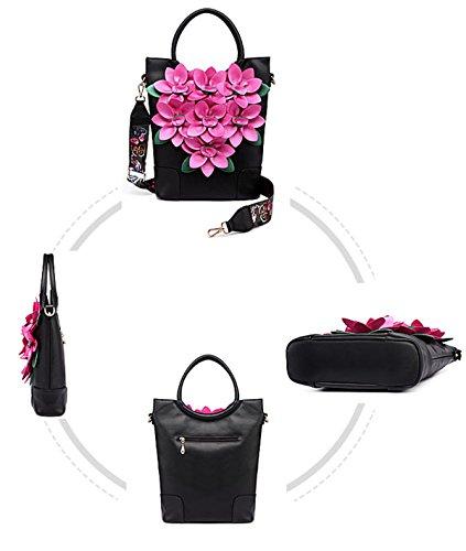 Qpalzm Qpalzm Larghe Tracolle Donne Borsa Color Pack 2017 Messenger Bag Fiori Moda Borsa A Tracolla Cerniera Chiusa Borsa Nera