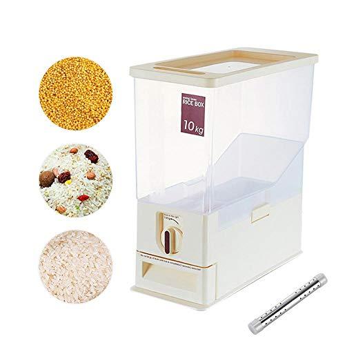 Lesgos Reisbehälter Lagerung, Haushalt versiegelt Getreide Getreide Organizer Box Reis Container Bin messbare Reis Zylinder für Küche Lagerung von Reis, Mehl, Trockenfutter, Tiernahrung, 22lb