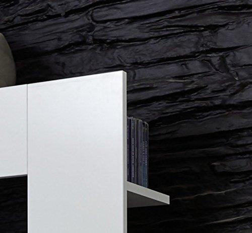 Dreams4Home Wohnkombination 'Florenz', Wohnwand, Anbauwand, Schrankwand, Kombination, Wohnzimmerschrank, Wohnzimmer, (B/H/T) ca. 164 x 124 x 46 cm, in weiß / weiß Hochglanz, Beleuchtung:ohne Beleuchtung - 4