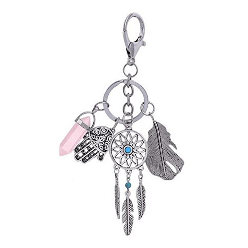 Luyee Bohemian gesäumten Federn türkis Palme Traumfänger Keychain (Pink) (Traube-taste)