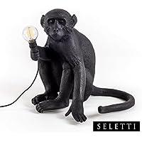 Seletti Monkey Lamp Black Sitting