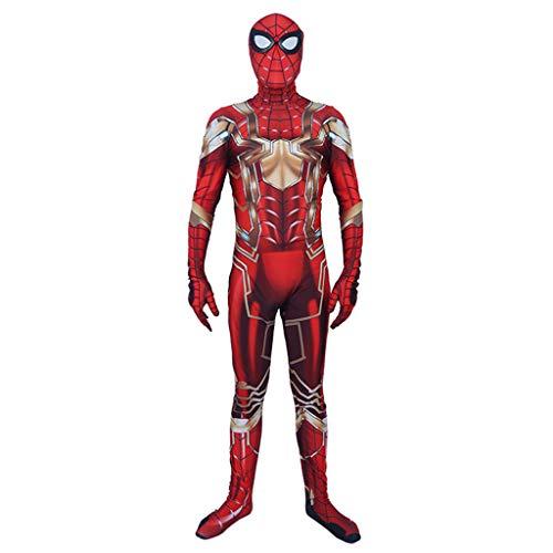 Stahl Eisen Mann Kostüm - NDHSH Stahl Spider-Man Cosplay Kostüm Lycra Erwachsene Overall Outfit Halloween Weihnachten Maskeraden Festival Geschenk,Red-L