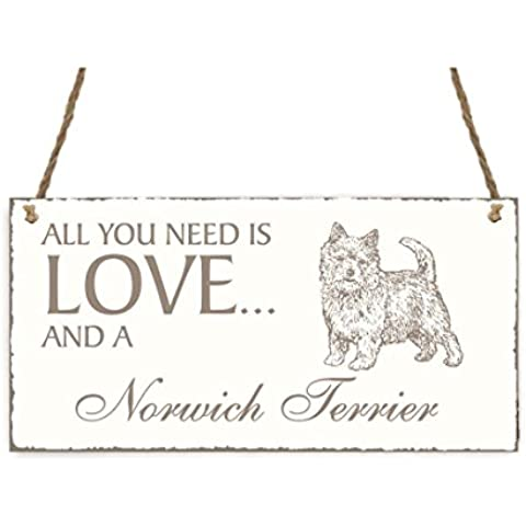 Targa decorativa « All You Need Is Love and a » cane Norwich terrier Shabby Vintage targa in legno Targa per porta