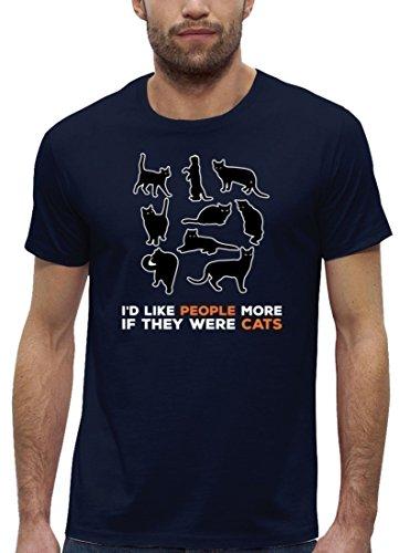 Katzen Premium Herren T-Shirt aus Bio Baumwolle mit Cats are better Motiv der Marke Stanley Stella Navy