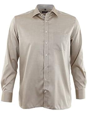 ETERNA Herren Langarm Hemd Comfort Fit beige / braun strukturiert Brusttasche mit Patch 8139.24.E147