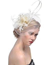 ZYCC Vintage Plume Fascinator Fleur Voile Chapeau Pince à Cheveux Mariage Fête Accessoires pour Cheveux