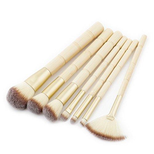 Maquillage Brosse, 7 Pcs/Set Bambou Poignée Lèvre Brosse À Sourcils Maquillage Brosse Fondation Mélange Poudre Fard À Paupières Contour Concealer Beauté Jouet Cosmétique Outil Kit