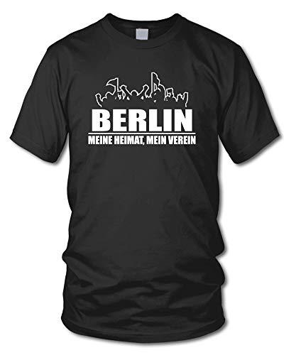 shirtloge - Berlin - Fanblock - Meine Heimat, Mein Verein - Fussball Fan T-Shirt - Schwarz - Größe XXL