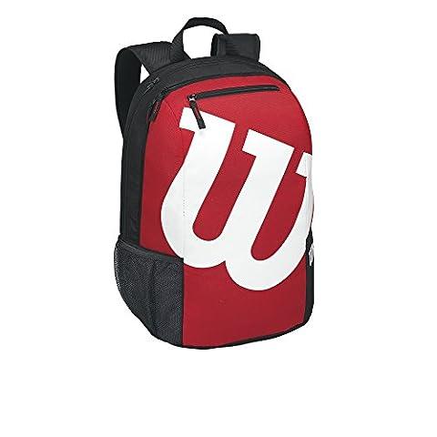 Wilson Damen/Herren-Tennisrucksack, Für Freizeitspieler, Match II Backpack, Einheitsgröße, schwarz/rot, (Viaggio Zaino Wilson)