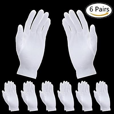 SevenMye 6 Pairs Moisturizing Gloves Thicker Cotton White Gloves Cosmetic Moisturizing Gloves Hand Spa Gloves Moisture Enhancing Gloves