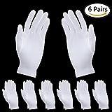 SevenMye 6Paar Kosmetik-Handschuhe, feuchtigkeitsspendende Handschuhe aus dicker Baumwolle, weiße Handschuhe für Kosmetik, Spa-Handschuhe