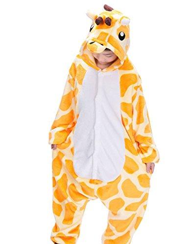 Semia bambini unisex pigiama caldo flanella tuta animali cosplay halloween natale partito costume kigurumi bambine ragazze pajamas sleepwear autunno inverno,giraffa,l(110cm-120cm)