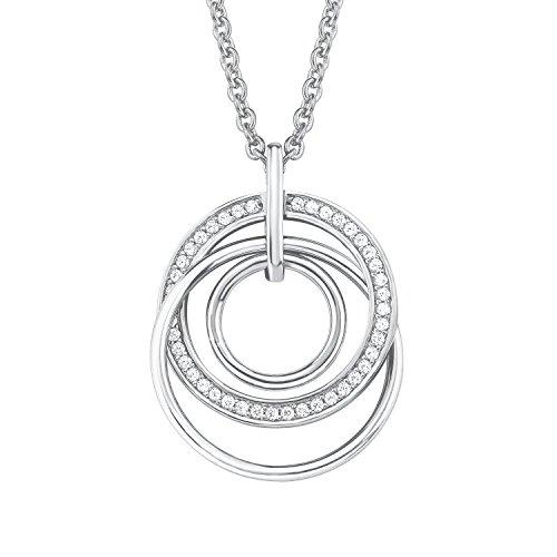 S.Oliver Damen Kette mit Kreis-Anhänger 925 Sterling Silber rhodiniert Zirkonia 42+3 cm weiß