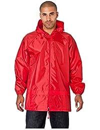 Men's 100% Waterproof Showerproof Kagoul Jacket Rain Coat Kagool extended hood (XXL, Red)