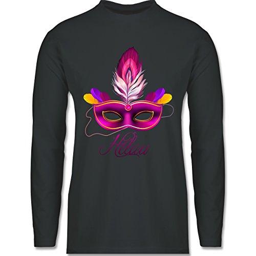 Karneval & Fasching - Maske Helau - Longsleeve / langärmeliges T-Shirt für Herren Anthrazit