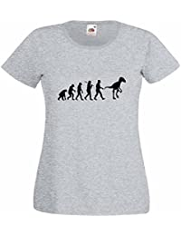 Evolution of a Velociraptor Ladies Heather T-Shirt with Black Print