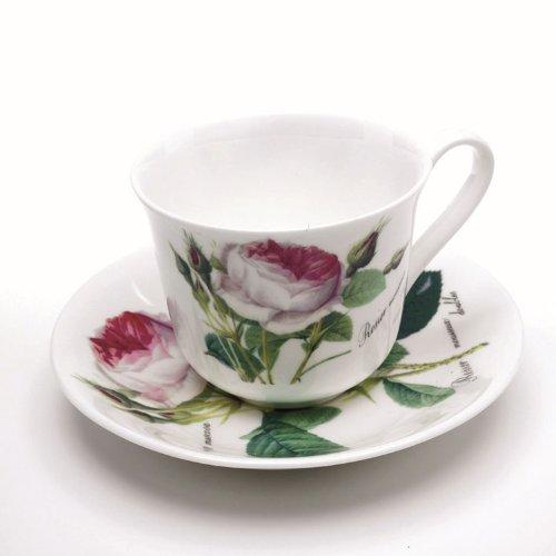 Roy Kirkham Redoute Rose Breakfast Tasse und Untertasse (Rose White Tasse)