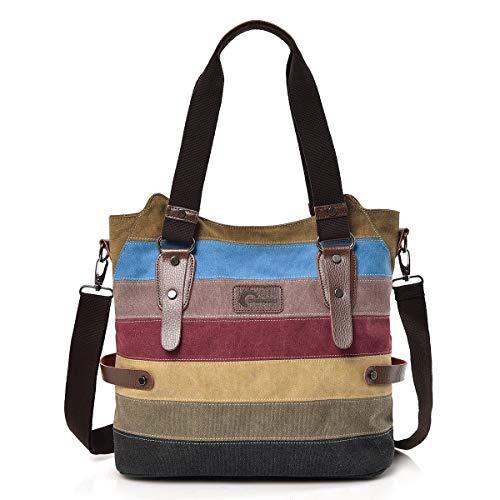 CHEREEKI Damen Handtasche, Canvas Tasche Multi-Color Streifen Umhängetasche, Tote Große Kapazität Shopping Casual Crossbody Hobo Bag -