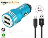Fast Car Charger For Oppo Find 7 Dual Port USB Car Charger | High Speed Rapid Fast Turbo Metal Android & Tablets Car Mobile Charger with Micro USB Data Cable | Smart Charging with Quick Charge Universal Car charger 3.1A (3 Ampere, Multicolor)