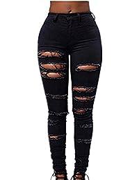 78a92c248115 Tonsee High Waisted Damen Skinny Jeans Denim Hose Slim Bleistift gerissen  Hosen