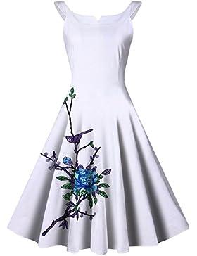 Donna Senza Manica Stampa Ricamo Retrò Elegante Hepburn Vento Vita Sottile Gonna Grande Vestito Bianco 3XL