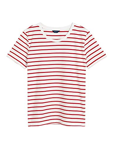 GANT Women's Breton Striped Top T-Shirt Red in Size Small -