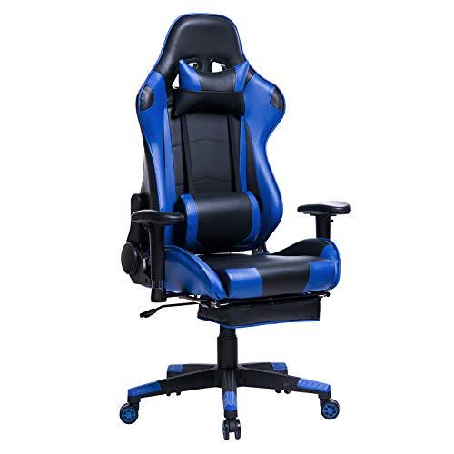 WOLTU Gaming Stuhl Racing Stuhl Bürostuhl Chefsessel Schreibtischstuhl Sportsitz mit Kopfstütze und Lendenkissen, Armlehne verstellbar, mit Fußstütze, Kunstleder, höhenverstellbar, Blau, BS14bl