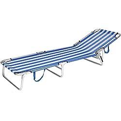 Tumbona plegable para playa de aluminio azul Garden - Lola Derek
