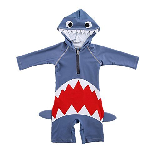 Kids Swimwear Childrens Swimsuit - One Piece Swim Costume Rash Guards Boys Girls Wetsuit Bodysuit with Cap Long Sleeve Shark Swimming Pool Beach Ocean