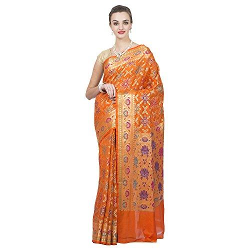 Craftghar Tissue Saree (X-06-093-Sre_Multi,Orange,Gold)