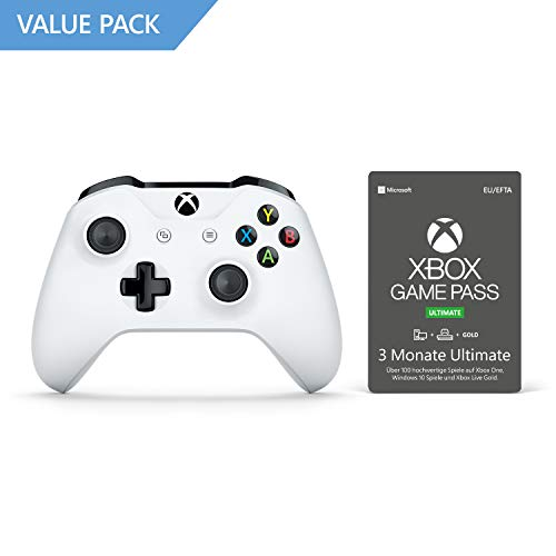 Xbox Wireless Controller, Weiß + 3 Monate Mitgliedschaft | Xbox Game Pass Ultimate [Download Code]