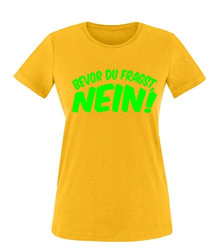 Luckja Bevor du fragst Nein Damen Rundhals T-Shirt Gelb/Neongrün