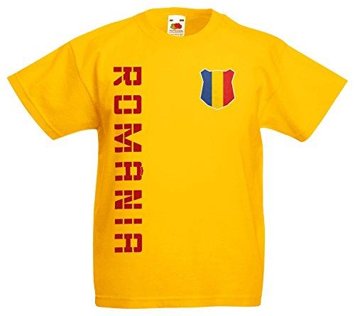 AkyTEX Rumänien România Kinder EM 2016 T-Shirt Trikot Name Nummer (Gelb, 128)